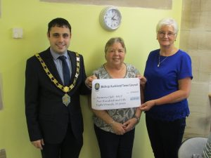 Mayor Adam Zair presenting a Community Fund Grant of £258.93 to Bishop Auckland Community Partnership's Memory Club
