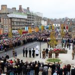 Crowds gathered around the War Memorial in Bishop Auckland Market Place for Remembrance Sunday