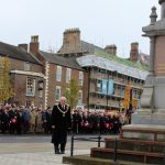 Mayor David Fleming paying his respects at the War Memorial on behalf of Bishop Auckland Town Council