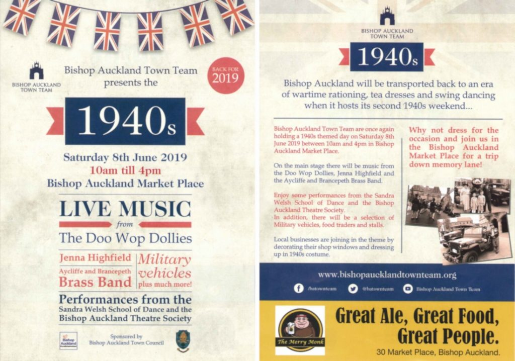 1940s Day Flyer, Saturday 8th June 2019, 10am till 4pm in Bishop Auckland Market Place