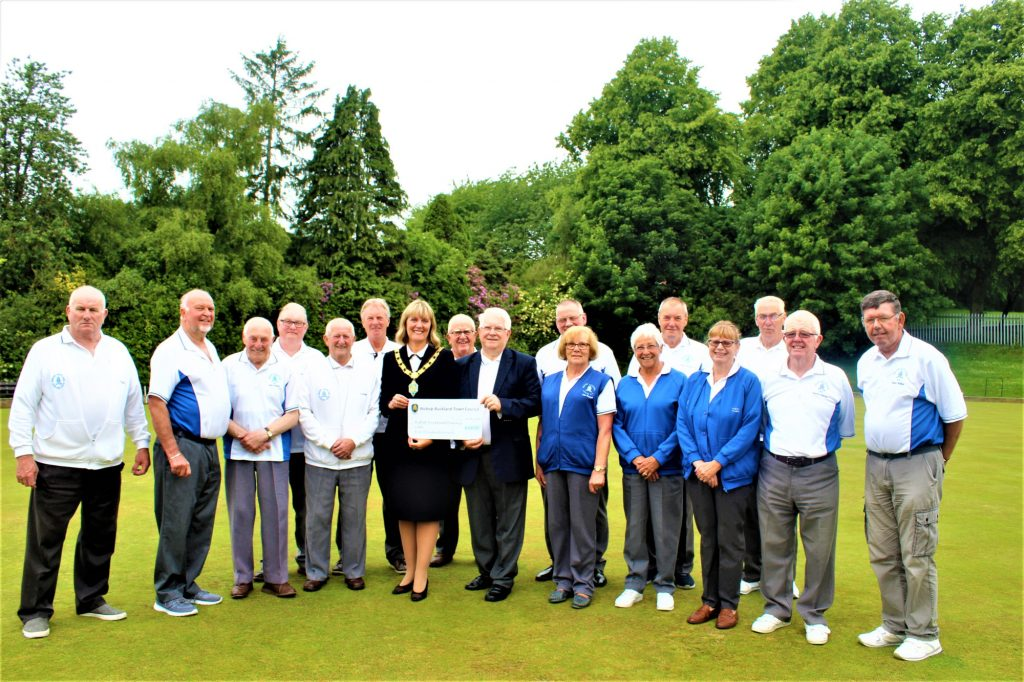 Mayor Joy Allen presenting the Community Fund grant to Members of Bishop Auckland Bowling Club - Photography by Christine Percival