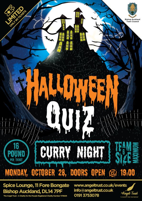 Halloween Quiz and Curry Night Poster, Monday 28th October