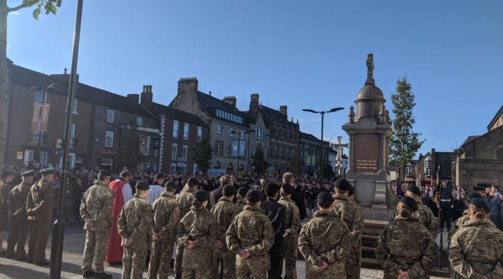 Remembrance Sunday in Bishop Auckland Market Place, Sunday 10th November 2019