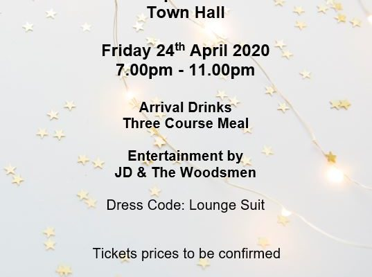 Mayor's Charity Ball, 7pm, 24th April 2020 at Bishop Auckland Town Hall