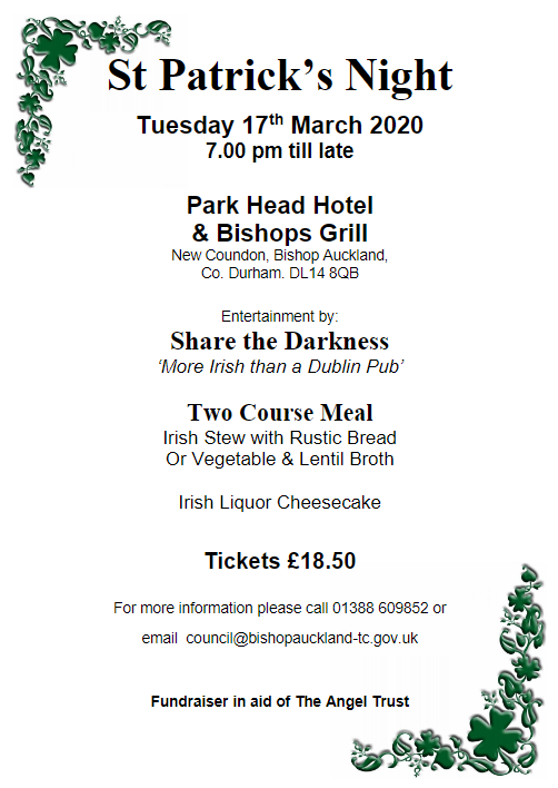 St Patrick's Night, 7pm on the 17th March 2020