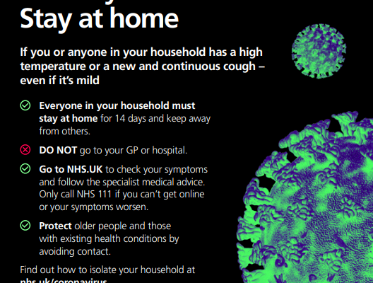 NHS Coronavirus - Isolate your Household; Stay at home
