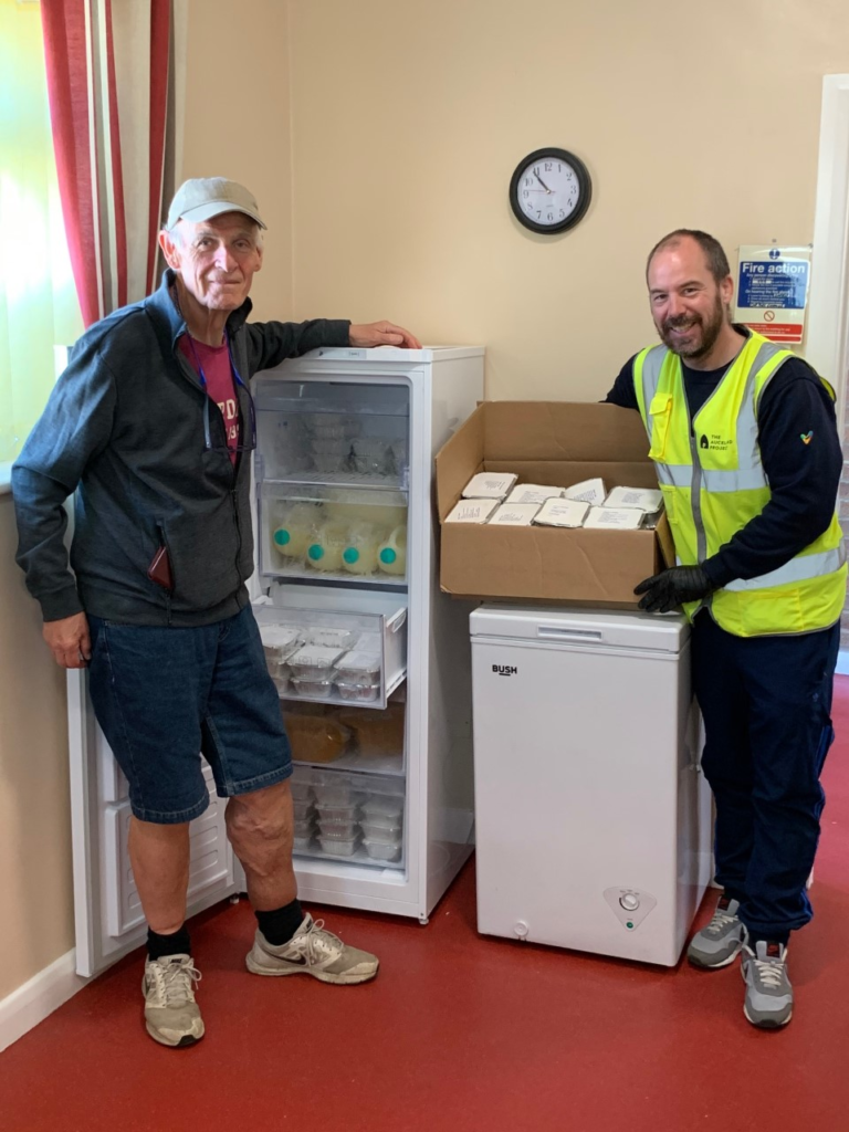 Woodhouse Close Community Foodbank volunteer, Roger Gibson with Councillor Lee Brownson from Bishop Auckland Town Council in attendance as part of his role with The Auckland Project.
