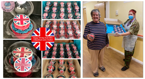 A selection of VE Day Cupcakes delivered to Barrington Lodge Care Home and Woodhouse Community Foodbank